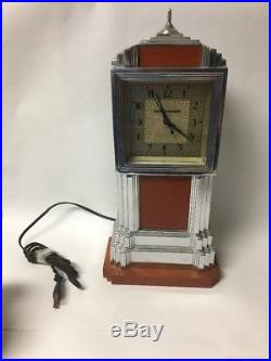 Vtg Art Deco Manning-bowman Old Chrome & Catalin / Bakelite Clock Skyscraper