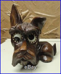 Vtg Oswald Scottish Terrier Scotty Dog Rolling Eye West Germany Art Deco Clock