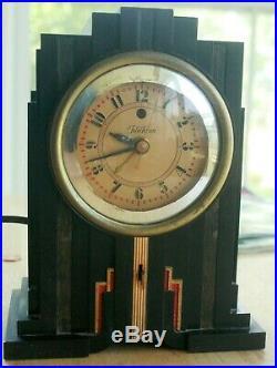 Vtg Telechron Electrolarm 700 Art Deco Skyscraper Style Clock, Working, with Alarm