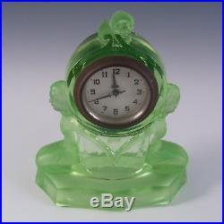 Walther & Sohne Art Deco Uranium Green Glass Windsor Clock