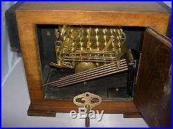 Westminster Chiming Walnut Mantle Clock British Anvil Beautiful 1930's Art Deco
